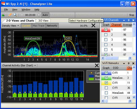 Chanalyzer Lite Bar Graphs: Select the channels and SSIDs you'd like to monitor.  See the channel's current, max and average in an easy to use bar graph.